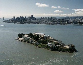 Aerial view of Alcatraz and the San Francisco city skyline