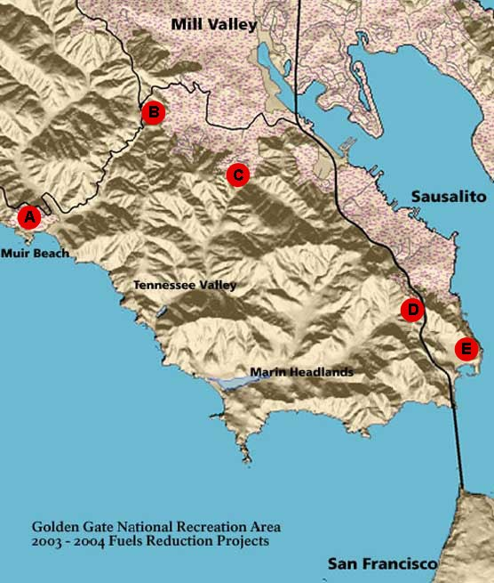 Map showing the location of various mechanical treatment projects within Golden Gate National Recreation Area.