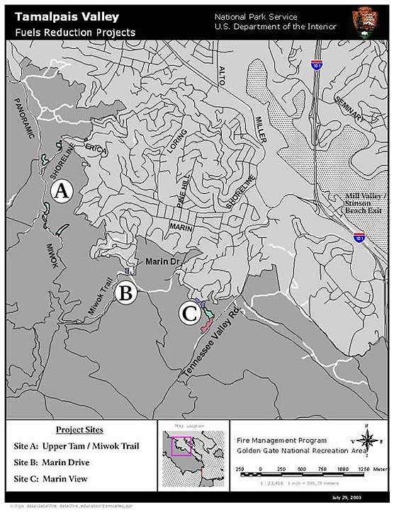 Map of 2003 Mechanical Treatment Project Locations in Tamalpais Valley