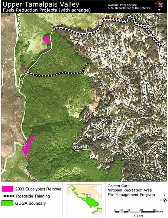 Map of Upper Tam / Miwok Trail Mechanical Treatment Project.