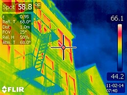 Infrared image of heat loss from building