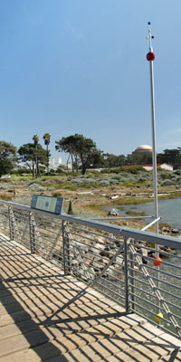 Sea level rise exhibit at Crissy Field