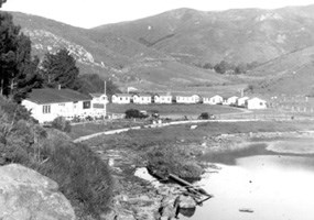 Muir Beach in the 1950s with summer cabins and the Old Tavern