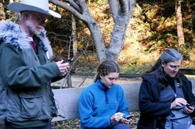 Muir Woods soundscape monitoring volunteers recording ambient noises
