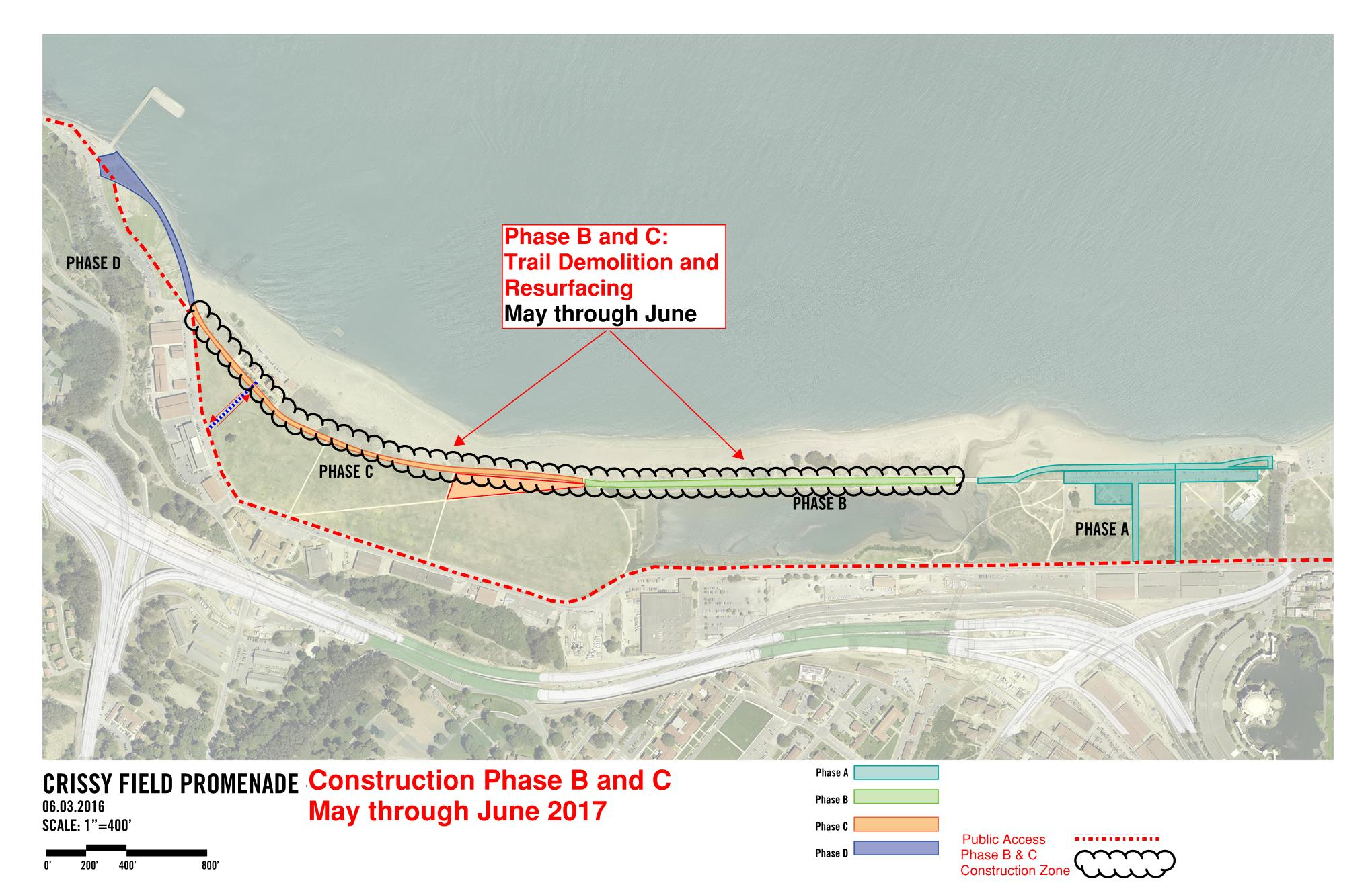 This map shows the construction closures and detour route for phases B and C of the Promenade repair project. The closure begins at the West end of East Beach and continues to the entrance of the NOAA building. The detour route is the Mason St Path