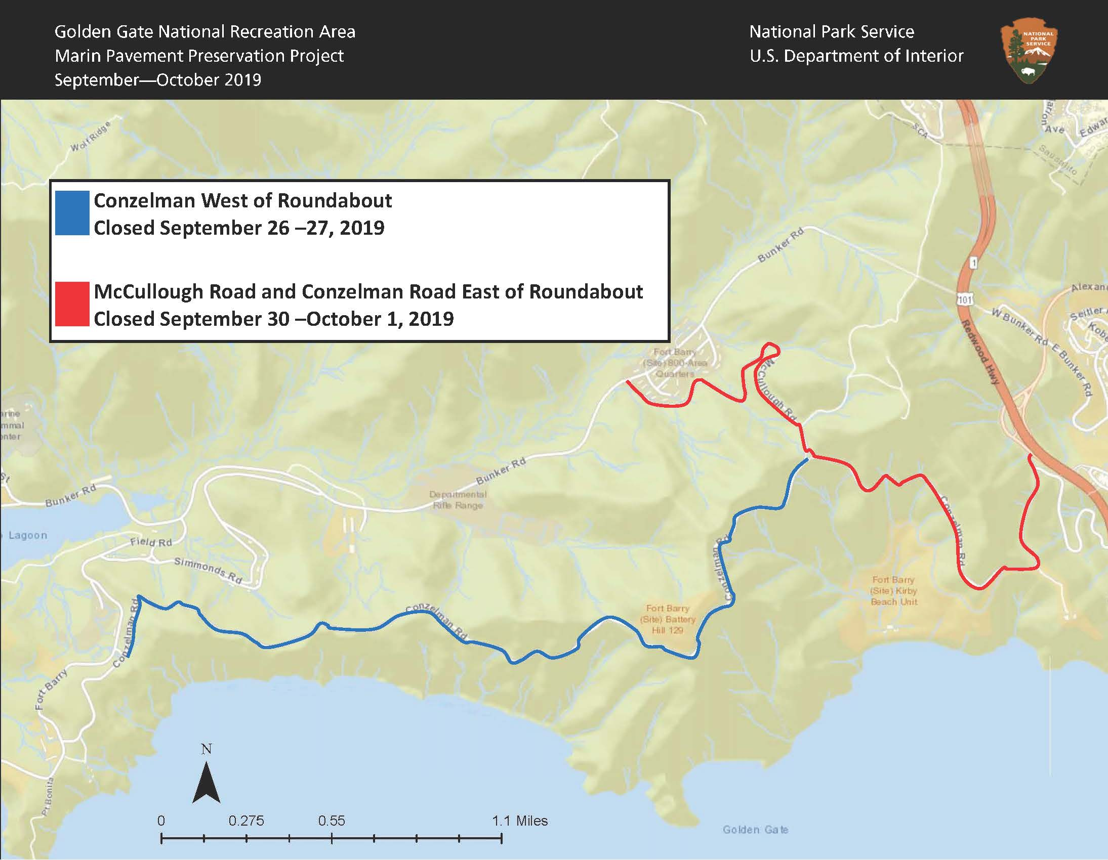 Map of upcoming closed areas in the Marin Headlands show McCullough and Conzelman Roads east of roundabout closed September 30 and October 1 in red. The blue portion identifies Conzelman Road west of roundabout closed on September 26 and 27.