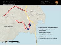 Map of the Marin Headlands with Bunker Road and Baker-Barry Tunnel and a portion of Conzelman Road highlighted.