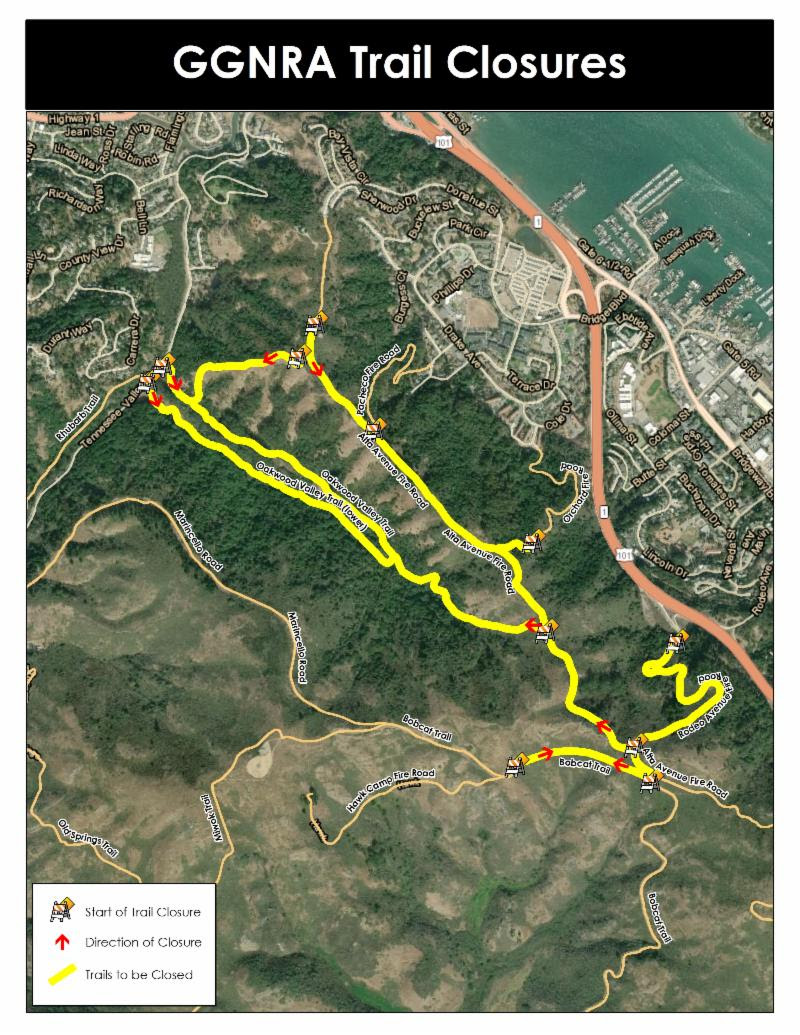 Map of the Marin Headlands with Avenue and Rodeo Avenue Fire Roads, Bobcat and Oakwood Valley Trails in yellow to indicate trail closure.