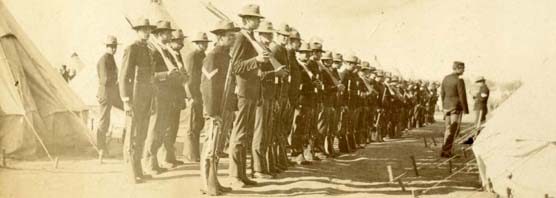 Regiment at attention in Presidio, 1890s