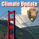 Climate update logo showing Golden Gate Bridge, clouds and NPS arrowhead