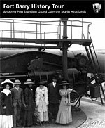 Cover of Fort Barry History Tour booklet showing civilians standing in front of large coast defense gun.