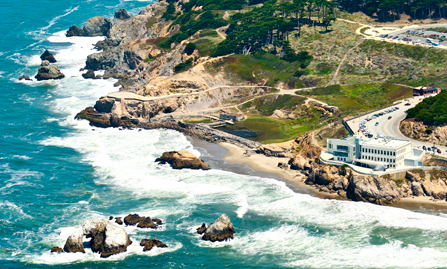 Aerial View of Lands End, Cliff House & Sutro Baths ruins