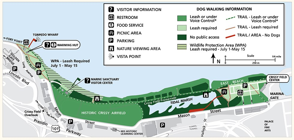 Map of Crissy Field showing areas where dogs can be walked under voice control, leash required, and no access allowed