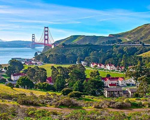 A scenic view of Fort Baker and the Golden Gate Bridge in a clear day facing south