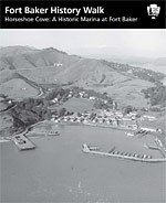 Cover of Horseshoe Cove self-guided booklet showing aerial view of Horseshoe Cove and Fort Baker from the 1950s.
