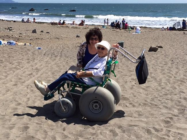 Image Of Women In A Beach Wheelchair At Muir