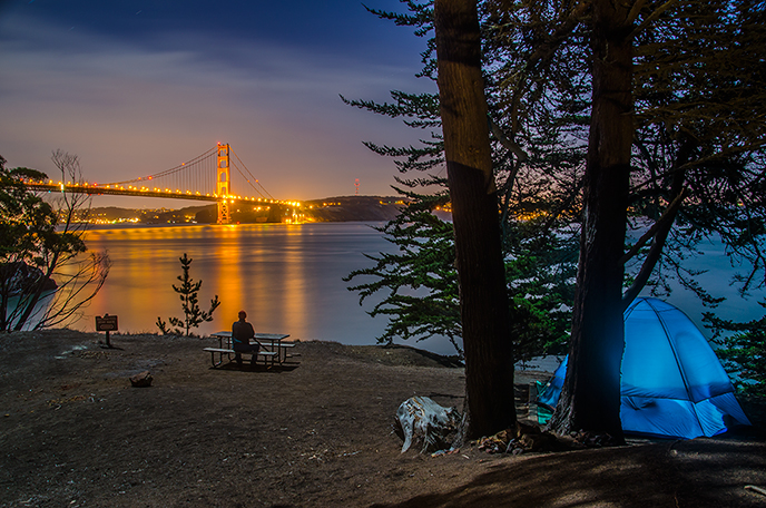 View of Kirby Cove at night overlooking the Golden Gate Bridge and the city of SF.