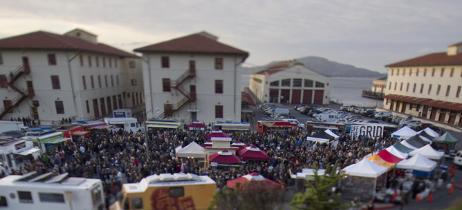 image of food trucks gathering at Fort Mason Center