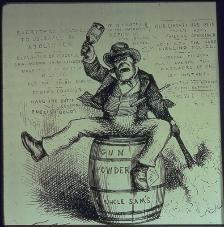 A cartoon drawing by Thomas Nast stereotyping Irish immigrants as aggressive, low-class drunks.