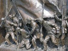 Photo detail of a bronze sculpture from the Irish Brigade Memorial at Antietam National Battlefield Park depicting Irish Brigade troops at the Bloody Lane.