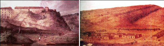Fort Snelling, Minnesota 1819 on the left and Fort Defiance, New Mexico 1851 ont the right