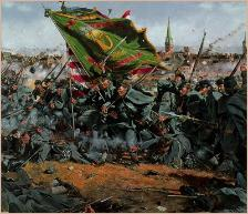 An illustration of Irish Brigade troops charging headlong into battle.