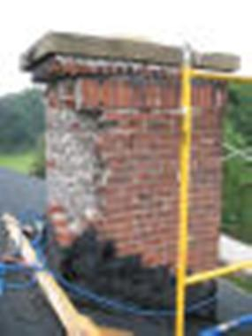 lightning damaged chimney