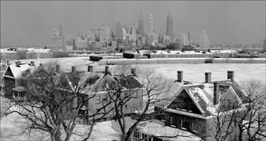 Fort Jay and the New York skyline from the top of Liggett Hall donated by a participant in the Oral History Program, January 1954.