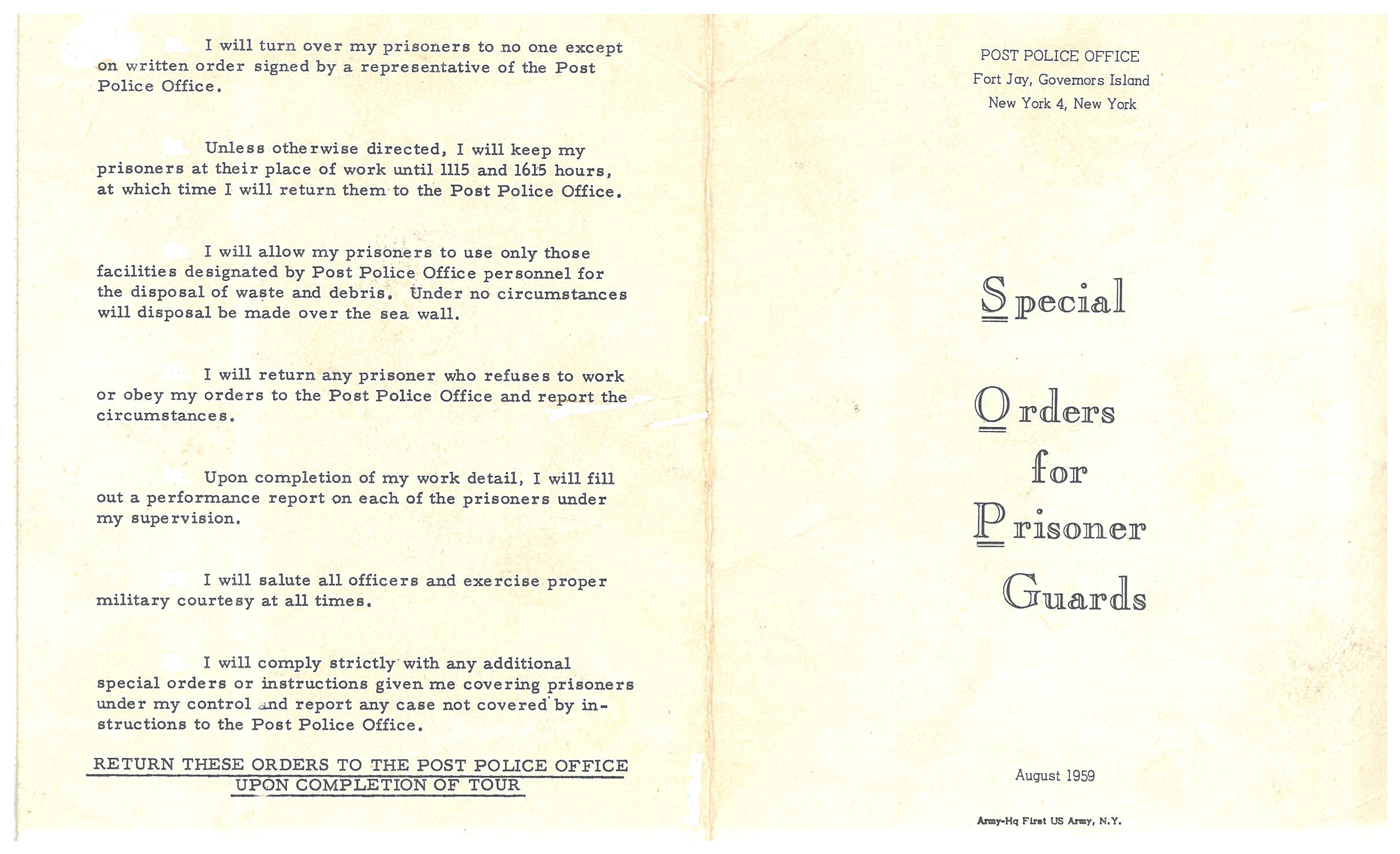Fort Jay: Special Orders for Prisoner Guards, August 1959