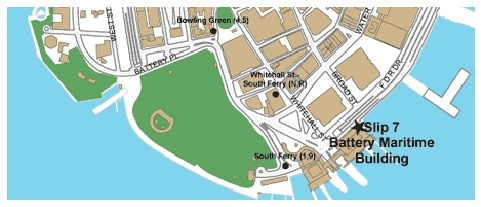Map of the Governors Island Ferry Terminal at the Battery Maritime Building in Lower Manhattan