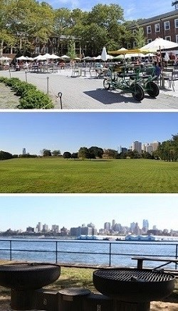 Food court at Liggett Terrace, view of Manhattan from the Parade Ground, and grilling stations