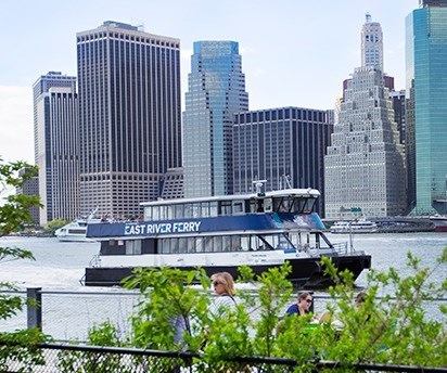 East River Ferry is a commercial service that stops at Governors Island on the weekends.