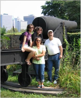 Steve de Carteret and family visiting their former backyard...the cannons at Fort Jay.