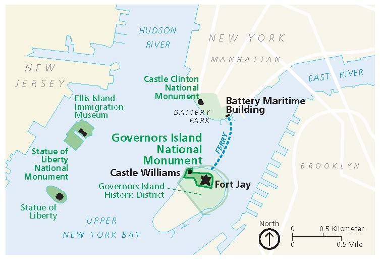 Maps Governors Island National Monument US National Park Service - Manhattan us map