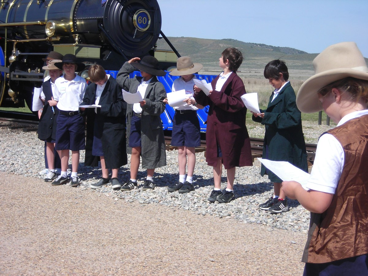 School Group Performing a Reenactment