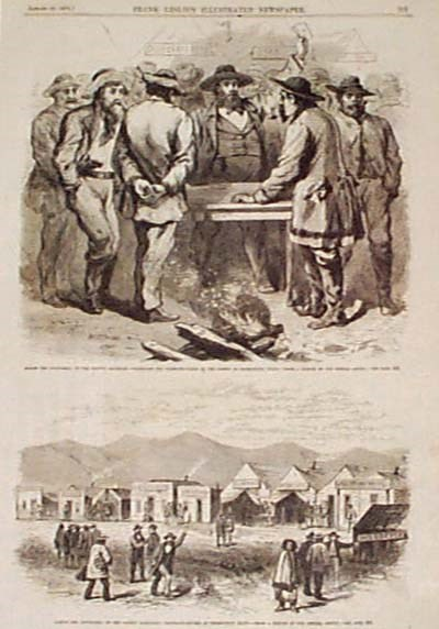 Drawing of men conducting business around a table. One man is holding up a paper, possibly selling something.
