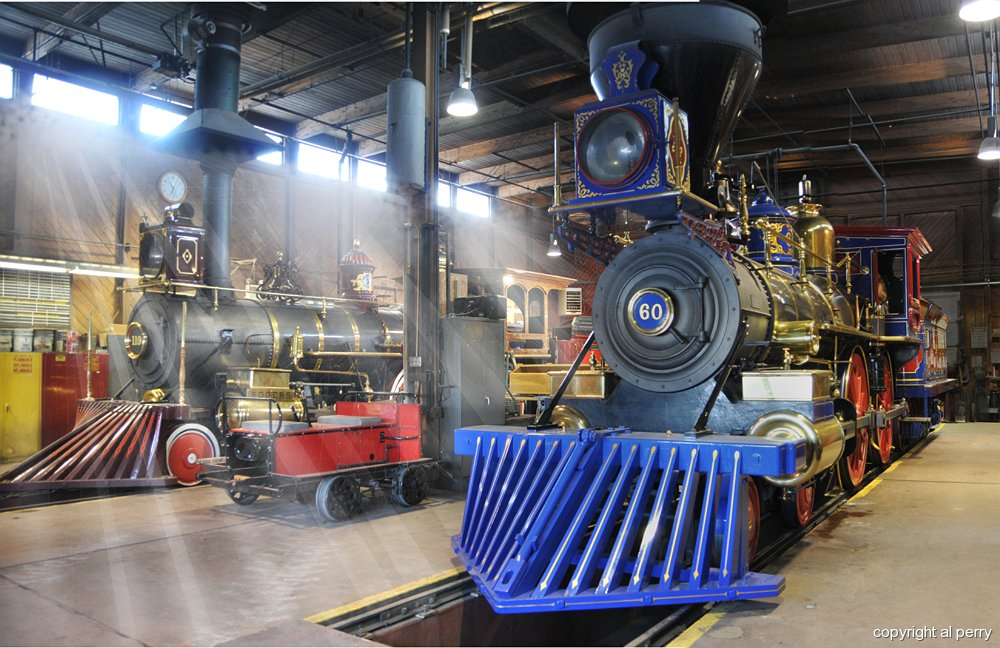 Locomotives are kept in the Engine House during Winter months (September through April).