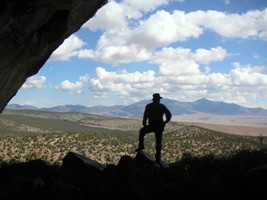 Visitor enjoys Lexington Arch in Great Basin National Park.