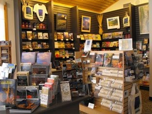 Great Basin Visitor Center bookstore, books on shelves and souvenirs
