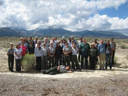 2016 Great Basin staff standing in front of mountains