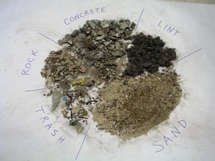 sample selection of material removed from cave