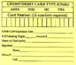 Credit card information slip for camping registration