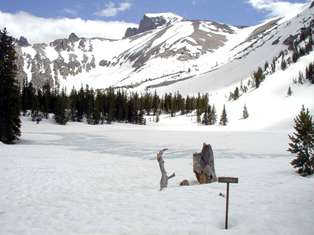 Mt. Wheeler and Stella Lake in winter