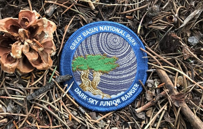 Junior ranger Dark-Sky patch with star trails and a bristlecone
