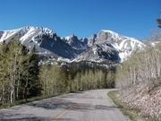 Wheeler Peak Scenic Drive with mountains in the background