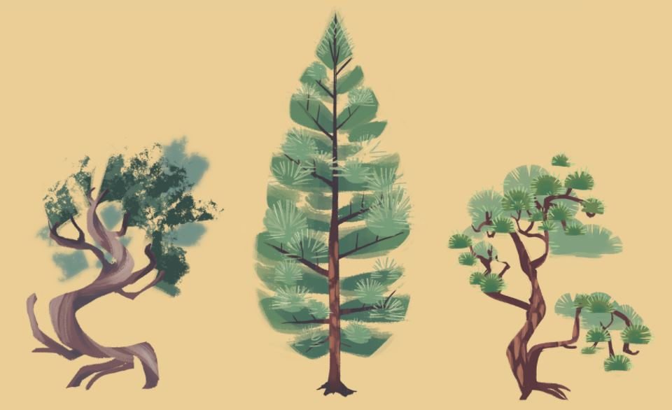 Three stylized, hand-painted trees against a pale yellow background. Illustration by Liz Byrley