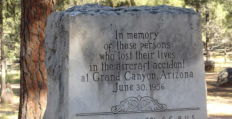 Top portion of United Airlines memorial stone reads,