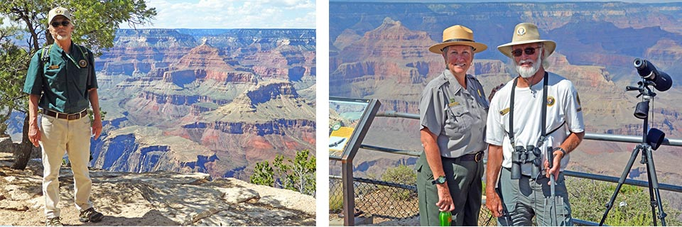 Two photos: Left: George Jacobi, author of Inspiration Point Blog - Right: GCNP Sup't Chris Lehnertz, with volunteer Condor Bob George.