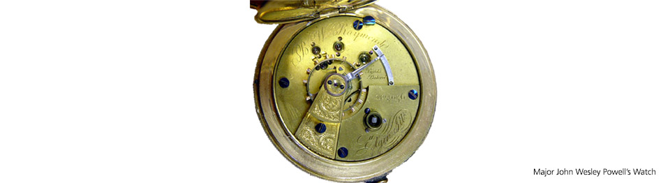 view inside of John Wesley Powell's pocket watch showing regulator.