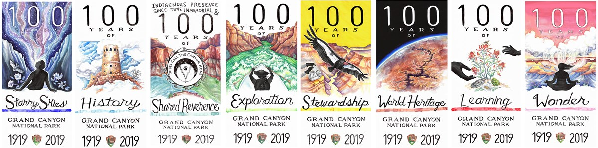 Eight centennial posters that highlight Grand Canyon's unique features.